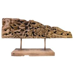 Vintage Carved Wood Floral Decorative Object ($695) ❤ liked on Polyvore featuring home, home decor, decor, vintage home decor, wood home decor, vintage home accessories and wooden home decor