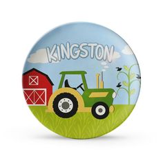 Boys Tractor Plate, Personalized Farm Birthday Melamine Cake Plate. $24.95, via Etsy. - and lots of other items