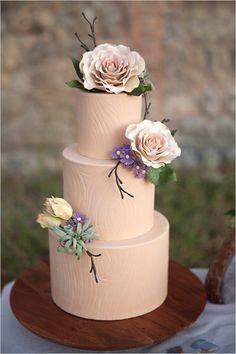 organic woodgrain wedding cake