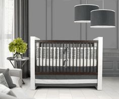 Sticks Crib Bedding set by Oilo. So modern and luxe this adorable grey and white gender neutral baby crib bedding set will create a dream nursery for your baby!