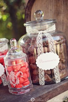 I love the idea of having a candy bar at the party!  You can give the guests little bags to take some home as a party favor!