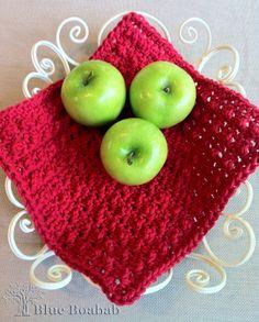 Crocheted red dishcloth - Blue Boabab pattern