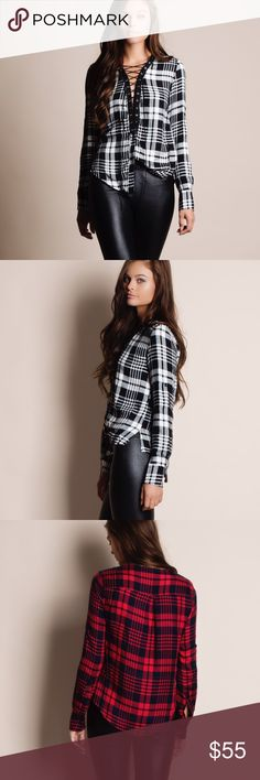 """Lace Up Long Sleeve Plaid Top Long sleeve plaid top with lace up front. Available in red, white and green. This listing is for the WHITE. This is an actual picture of the item - all photography done personally by me. Model is 5'9"""" 32-24-36. Brand new. True to size. NO TRADES. PRICE FIRM. Bare Anthology Tops Blouses"""