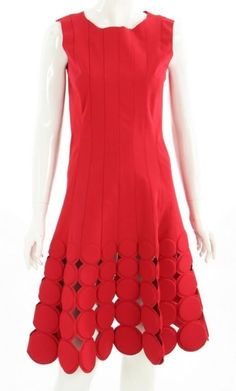 Oscar De La Renta Red Laser Cut Polka Dot Sleeveless Dress NEW - CURRENT #OscardelaRenta #TeaDress