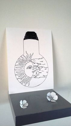 """Affiche Illustration Noir et blanc ampoule """" Le soleil a rendez-vous avec la lune """" : Affiches, illustrations, posters par stefe-reve-en-feutrine"""