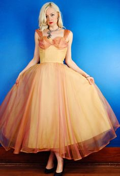 Sunset Silk Organza Vintage 40s Yellow and Peach Prom Party Dress Gown XS Extra Small/S Small