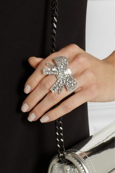 Miu Miu Silver-plated Swarovski crystal bow ring NET-A-PORTER.COM