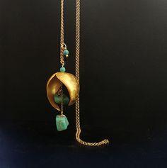 Designer long pendant with gemstones ,turquoise, lapis, bridal gift,wedding jewelry Long Silver Earrings, Silver Rings, Greek Jewelry, Wedding Jewelry, Gift Wedding, Geometric Necklace, Cross Earrings, Shell Pendant, Silver Pendants