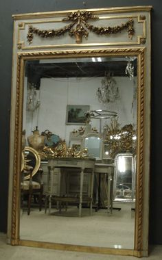 Ref 5061 - Antique French Mirror - Large Louis XVI style pale grey and gilt trumeau antique mirror. Original worn paint and two tone gilt on red. Trumeau Mirror, Diy Mirror, Wall Mirror, Antiqued Mirror, Floor Mirror, Gold Leaf Furniture, Mirrored Furniture, Painted Furniture, Antique Interior