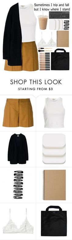 """""""I know where I stand >."""" by loveenana ❤ liked on Polyvore featuring Vanessa Bruno, River Island, Acne Studios, COVERGIRL, Muji, Monki, Black+Blum, NARS Cosmetics and Gorgeous Cosmetics"""