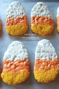 These Candy Corn Rice Krispie treats are as fun to make as they are to eat!