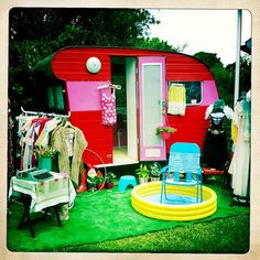 So cute! Saw something similar once that was used as a backyard playhouse (camper).