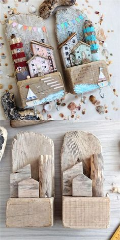 Driftwood Key Holder Driftwood Key Holder for Wall with Wooden Houses Beach Crafts, Diy Home Crafts, Diy Home Decor, Driftwood Projects, Driftwood Art, Painted Driftwood, Shell Crafts, Wooden Crafts, Recycled Crafts
