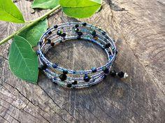 Bohemian summer bangle, seahorse bracelet, crystal bracelet, beaded bracelet, unique gift for her, swarovski bracelet, boho chic, uk store