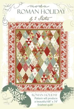 Roman Holiday Quilt Pattern Moda Charm Pack BY 3 Sisters Fabric Rare Vintage | eBay
