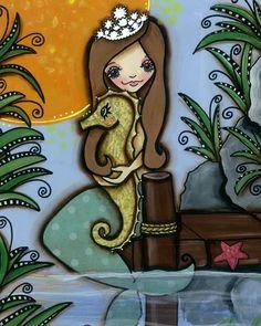 Mermaid and Seahorse 8 x 10 print by mixed media by KellyLishArt, $15.00
