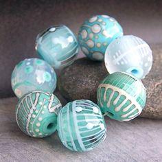 MruMru Handmade Lampwork Glass Bead  set. Sra. by magdalenaruiz, $49.00