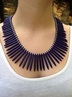 Bohemian midnight blue how lite spike necklace by AdornbyPriscilla, $32.00