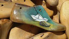 Ξυλινο παλιό καλαποδι ζωγραφική με λάδια νερού