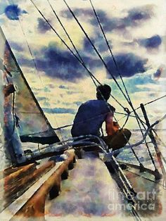 Watercolor painting of man sitting on a sailing boat watching the sunset. Watercolor Landscape, Watercolor Paintings, Watercolors, Sunset Watercolour, Sailboat Painting, Boat Art, Saatchi Art, Art Photography, Thing 1