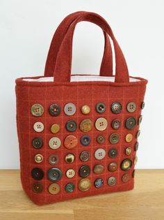 Wool Burgundy Button Tote Bag - step by step instructions to make your own