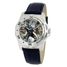 """Marvel Comics Men's MA0710-D16-BlackLeather Marvel 'Captain America' Defender Watch Marvel Comics. Save 17 Off!. $29.00. Water-resistant to 99 feet (30 M). Uni-directional rotating bezel. Marvel character featured on dial. Case diameter: 40.00 mm. Men's Marvel """"Defender"""" Watch"""