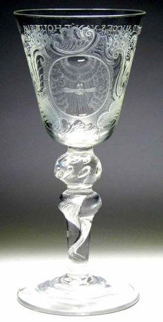 A Fine Engraved Composite Stem Marriage Goblet. ca.1755