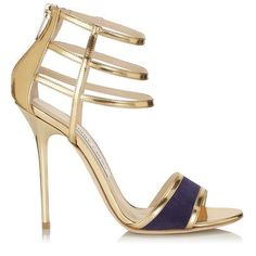 "Jimmy Choo ""Tolka"" Gold Mirror Leather and Bilberry Patent Sandals"