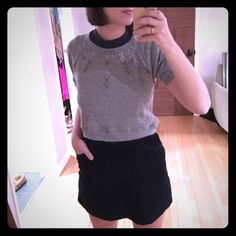 Vena Cava Cropped Gray Sweater w/ Necklace Studs Excellent condition Vena Cava Cropped Gray Sweater Tee Shirt w/ Necklace Studs. Size Small. 60% polyester 15% rayon 25% cotton Vena Cava Tops Crop Tops