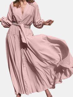 V-Neck High Waist Long Sleeve Pleated Casual Elegant Maxi Dress - Power Day Sale