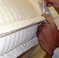 Marking and sewing the edge, detail can be seen in this picture