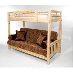 """The Ultimate Space Saver: Solid Wood, American-made and Sleeps 3! --- Full Futon Bunk Bed - Complete w/ Two 9"""" Futon Mattresses - Eco-friendly $599.00"""