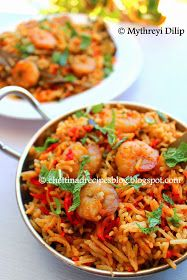 Prawn Biryani. I would add some cumin powder to this and leave out the mint…
