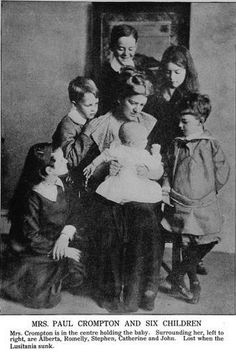 Mrs. Paul Crompton and 6 children - lost in the Lusitania disaster