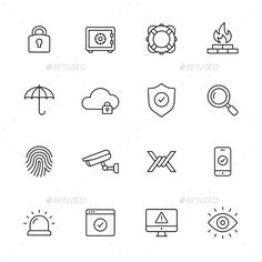 Protection, safety and security line icons Includes the following:padlock (lock, secure, password, privacy), money safe, lifebuoy