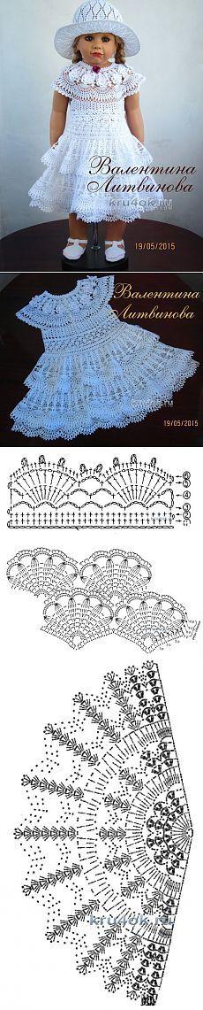Vestido, sombrero y cinturón para las niñas - trabaja Valentina Litvinova - Crochet en kru4ok.ru