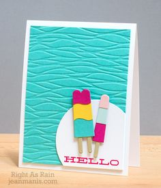 handmade summer theme card ... FrozenTreats ... Popsicles ... great embossed background ... Tim Holtz  mod waves all over ... luv it!