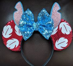 Lilo & Stitch Minnie Mouse ears Made to order and can be customizable to your preference. Disney Diy, Diy Disney Ears, Disney Minnie Mouse Ears, Cute Disney, Mini Mouse Ears, Disney Cars, Disney Stitch, Lilo Ve Stitch, Disney Ears Headband