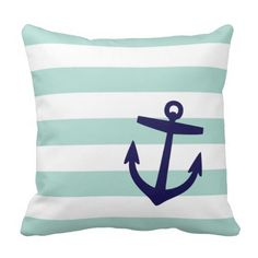 Mint & Navy Nautical Stripes and Cute Anchor