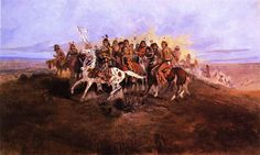 Charles Russell Oil Paintings | oil painting reproduction on canvas of The War Party by artist Charles ...
