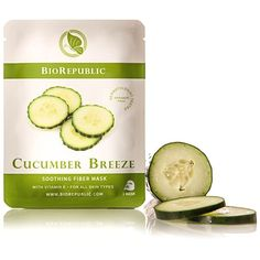 BioRepublic Cucumber Breeze Soothing Fiber Sheet Mask, 1 Mask ($5) ❤ liked on Polyvore featuring beauty products, skincare, face care, face masks, beauty, no color, face mask, hydrating face mask, hydrating facial mask and moisturizing face mask