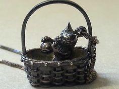Vintage Sterling Silver Pendant Charm Necklace Cat in A Basket | eBay