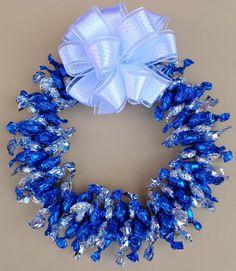 Edible Candy Wreath Silver Blue Centerpiece by CandyWreathsbyCarla