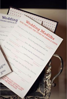 DIY Wedding Madlibs. Throw a few sheets in the favor bags.