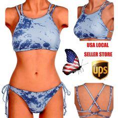 Sexy Womens Bikini Set Bandage Swimwear Push-up Padded Bra Halter Bathing Suit #Brandnew #Bikini