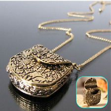 Vintage Style Carved Bronze Bag Shape Locket Pendant Long Necklace Chain Jewelry