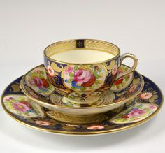CROWN STAFFORDSHIRE ANTIQUE PORCELAIN HANDPAINTED TRIO TEA CUP, SAUCER &…