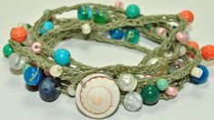 Beach Walk 5-wrap beaded crochet bracelet.