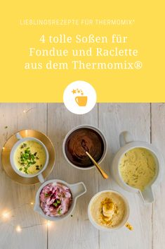 Sauces for fondue and raclette from the Thermomix® - Photo: Tina Bumann Raclette Recipes, Curry Sauce, Pesto, Recipies, Low Carb, Brunch, Dinner, Breakfast, Dips Thermomix