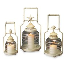 Frosted Shell Lanterns (Set of 3) - BedBathandBeyond.com